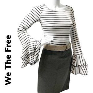 Anthropologie We The Free Striped Bell Sleeve Top